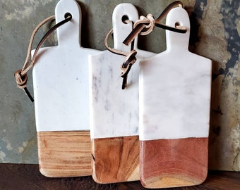 White Matte Finish Marble and Exotic Wood Cheese Tray Set FREE HIMALAYAN SALT!