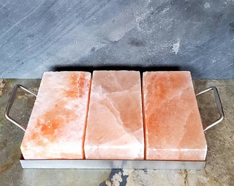 Grill Special Set Himalayan Salt cooking bricks set stainless steel holder FREE SHIPPING!