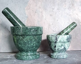 NEW Larger Size Available! Green Marble solid stone Mortar & Pestle Salt Kit w/FREE salt!