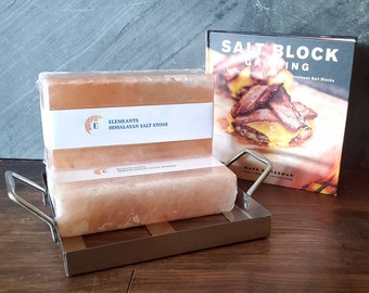 Himalayan Salt Brick Grilling Set with or without Stainless Steel Holder SHIPS FREE and 8 oz Salt FREE! Fantastic Offer!