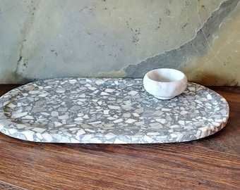 Terrazzo Marble and Concrete Cheese Tray Serving Tray Charcuterie Tray Set with your choice of marble salt pinch pot and FREE Himalayan Salt