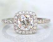 Vintage Transitional Cut Diamond Halo Engagement Ring 0.93ctw Diamond Engagement Ring 14K White Gold Diamond Wedding Ring & Appraisal