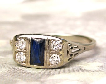 Art Deco Engagement Ring Antique Blue Sapphire & Diamond Wedding Ring 18K White Gold Filigree Antique Engagement Ring
