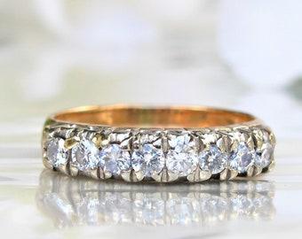Vintage Ladies Diamond Wedding Ring 0.40ctw Diamond Wedding Band 14K Two Tone Gold Heart Motif Diamond Anniversary Ring Gold Stacking Ring