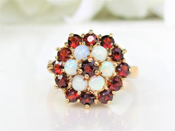 Vintage Garnet & Opal Ring Alternative Engagement… - image 1