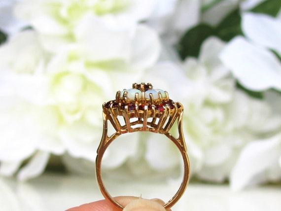 Vintage Garnet & Opal Ring Alternative Engagement… - image 4
