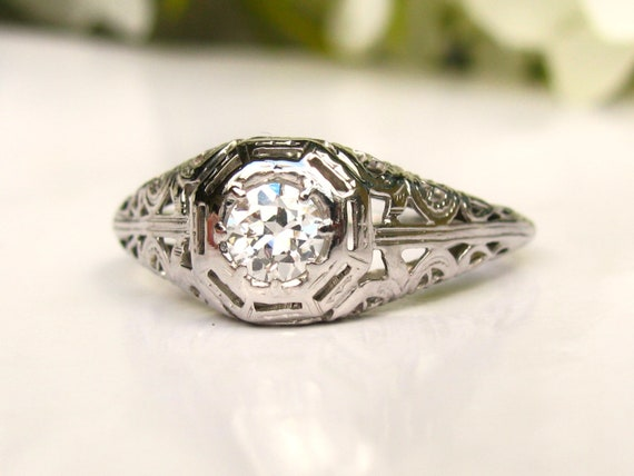 Promise or Stacking Ring Size 5.5 LB317 Wedding .15 ctw total; 14K  White Gold Art Deco Engagemant Ring; 1930-40/'s .11 ctw Center Diamond