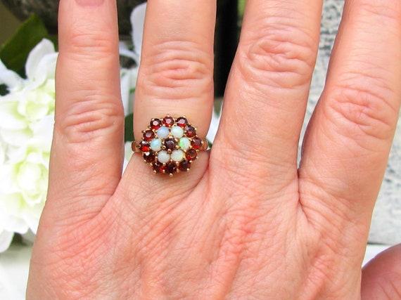 Vintage Garnet & Opal Ring Alternative Engagement… - image 8