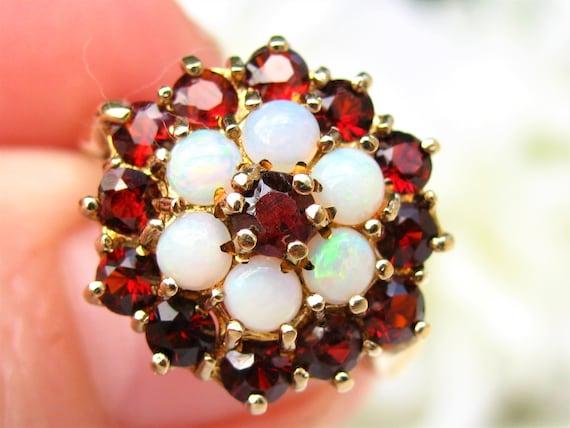 Vintage Garnet & Opal Ring Alternative Engagement… - image 5
