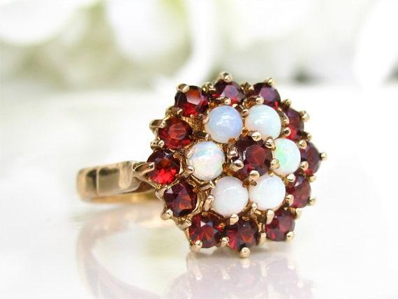 Vintage Garnet & Opal Ring Alternative Engagement… - image 2