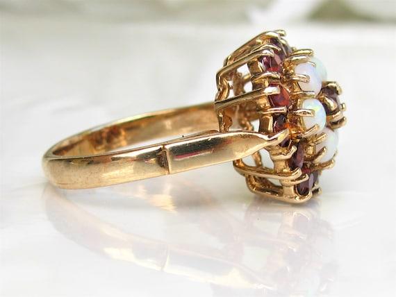 Vintage Garnet & Opal Ring Alternative Engagement… - image 3