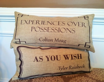 To honor Colton Moag and Tyler Raisbeck...a custom designed pillow for their families and friends.