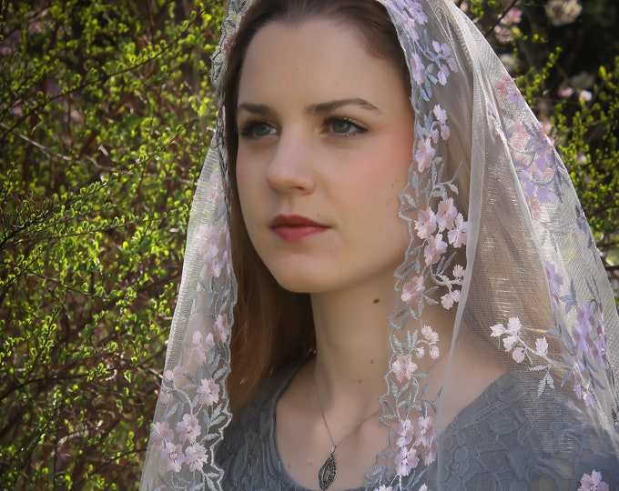 """Evintage Veils~ Our Lady of the Rosary """"Joyful Mysteries"""" Vintage Inspired Lace Chapel Veil D Shape"""