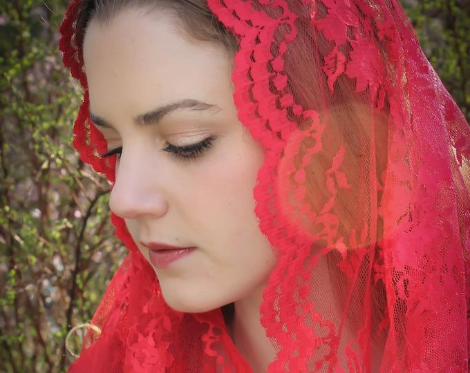 Evintage Veils~ Chantilly Lace Infinity  Veil SEVEN COLORS!  Vintage Inspired Lace Chapel Veil Scarf Mantilla