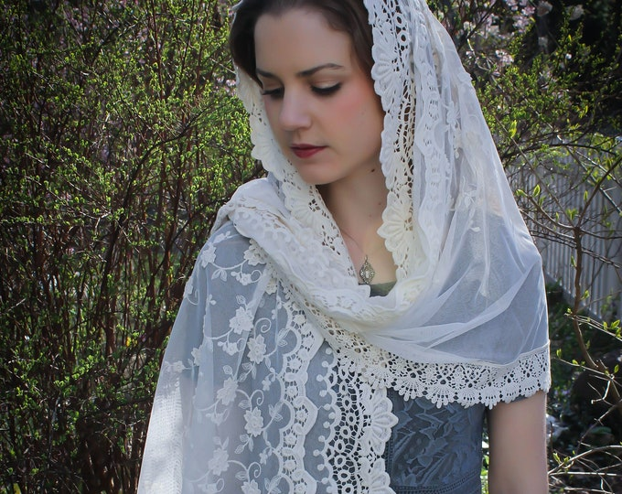 Evintage Veils~Our Lady of Guadalupe Ivory Wrap-Style Chapel Veil Mantilla Latin Mass