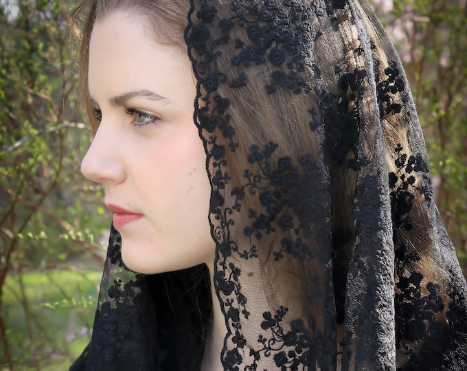 Evintage Veils~ READY TO SHIP Queen of Peace Soft Black Embroidered Lace Chapel Veil Mantilla Infinity Veil Latin Mass