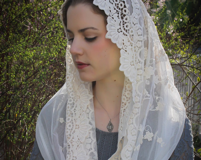 Evintage Veils~ READY TO SHIP Our Lady of Guadalupe Lovely Embroidered  Traditional Infinity Veil Mantilla Chapel Veil