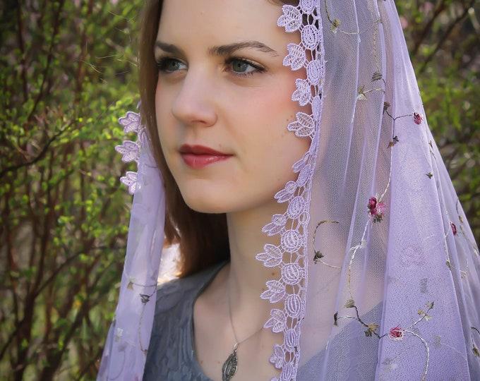 Evintage Veils~LENT ADVENT St Therese Little Flower Chapel Veil Mantilla French Lilac  Floral Wrap Veil