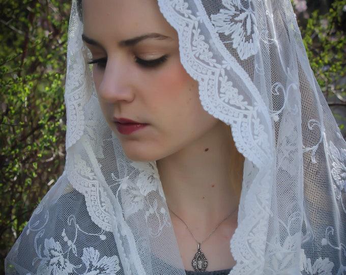 Evintage Veils~ St Michael the Archangel **  Vintage Made in France Lace Chapel Veil Scarf Mantilla Wrap