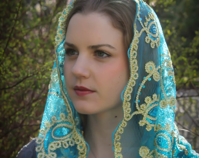 Evintage Veils~ READY TO SHIP Our Lady of Guadalupe Three Colors  Sequin Embroidered Lace Chapel Veil Mantilla Infinity Veil Latin Mass