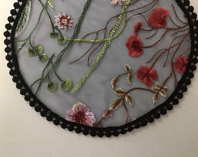 Evintage Veils~ Black and Navy Wildflowers Chapel Cap