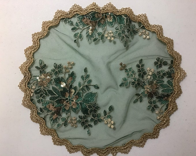 Evintage Veils~  Rich Green and Gold Chapel Cap