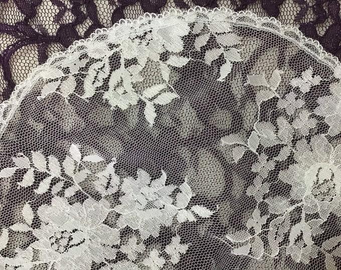 Evintage Veils~  White Chantilly Lace Chapel Cap