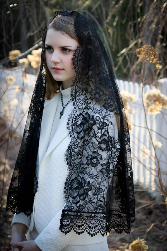 Evintage Veils Black Spanish Lace Mantilla Chapel Veil