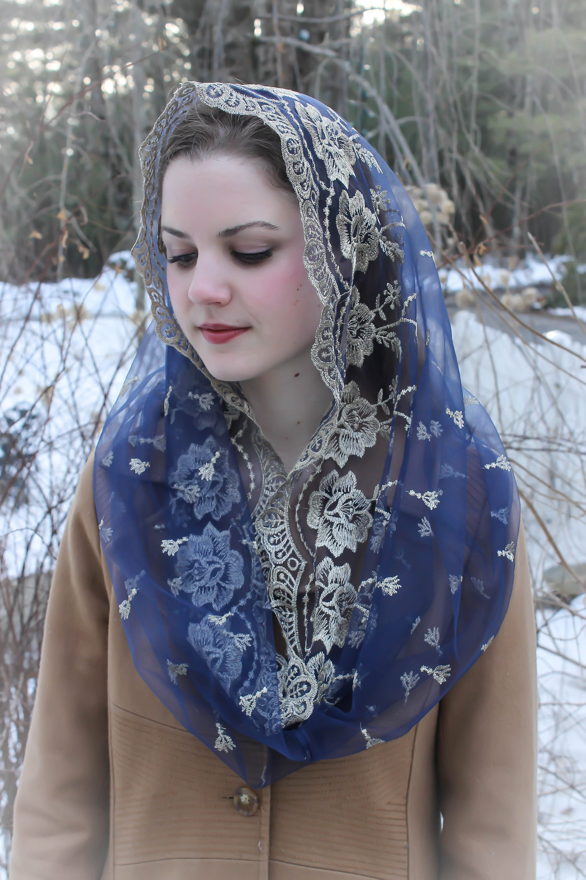 Evintage Veils~ Our Lady//Guadalupe Navy Blue//Gold Infinity Chapel Veil Mantilla