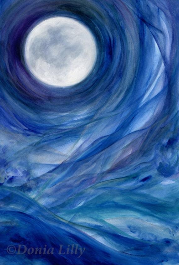 Items Similar To Blue Moon Art Cobalt Indigo Purple