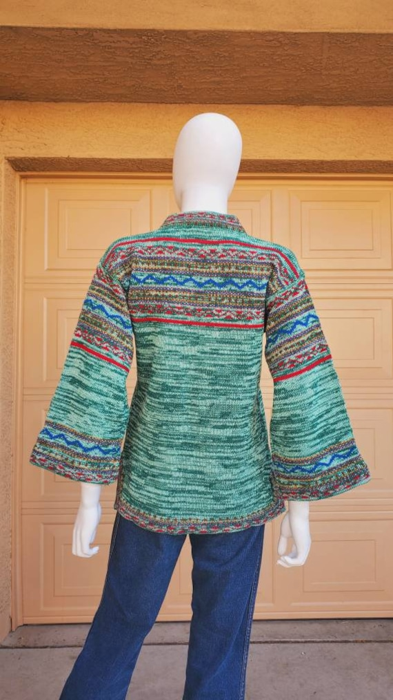 70's space dyed rainbow dream tunic, bell sleeve s