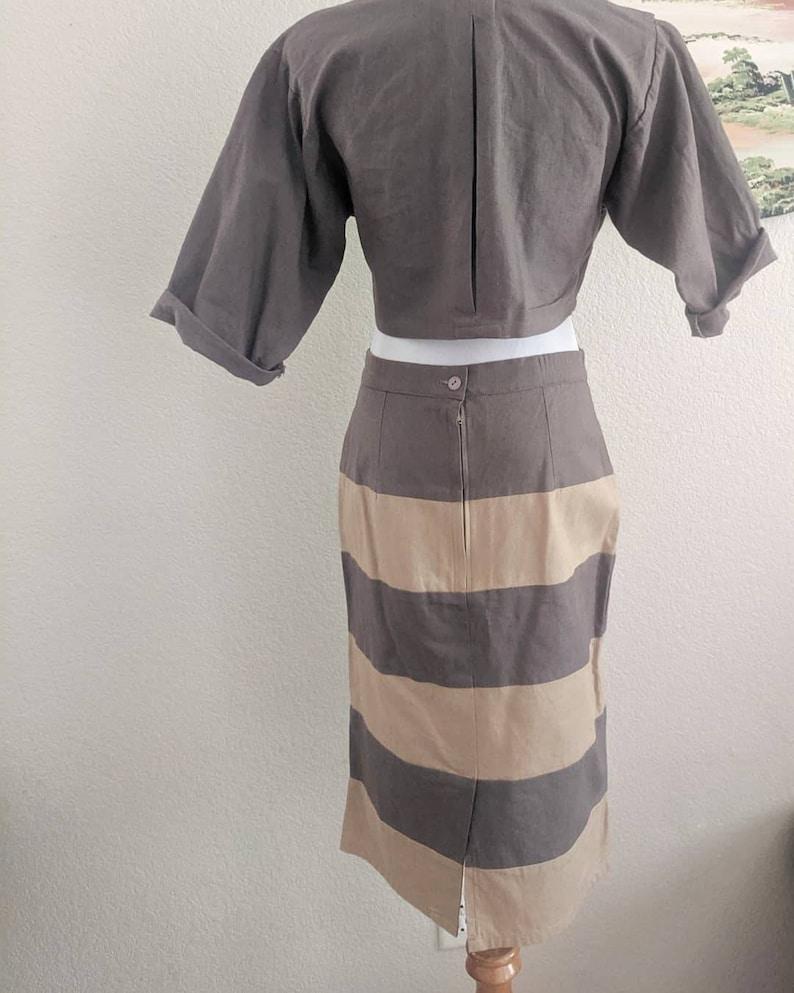RETRO linen blend 2pc crop suit