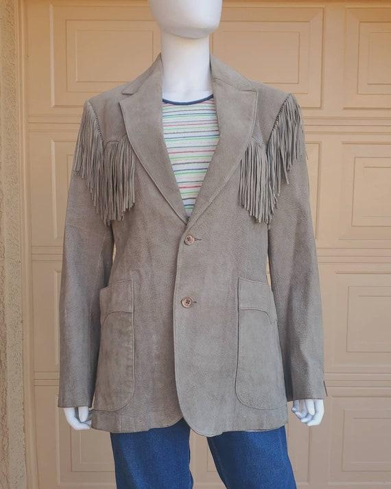 "Vintage ""Scully"" brand grey suede fringe blazer"