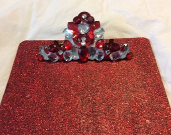Red Glitter and Rhinestone Clipboard - Large Size