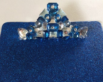 Royal Blue Glitter and Rhinestone Clipboard - Large Size