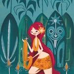 wahini, Tiki Poster,Hawaiian, Mid Century Modern Art Print Poster Tiki polynesian