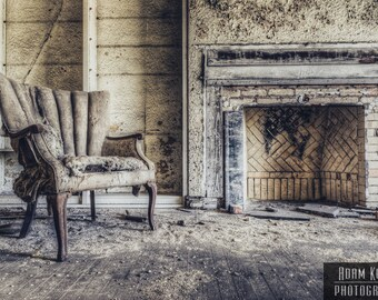 Abandoned Apartment Chair by Fireplace - Urbex, Urban Decay Photography