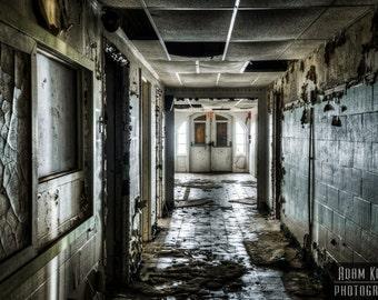 Abandoned Hospital Wing Hallway.  Urbex, urban decay photography