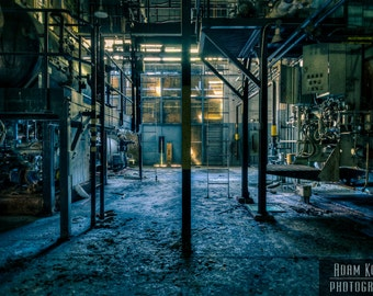 Abandoned Industrial Building.  Urbex, urban decay dystopia photography