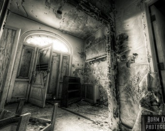 Abandoned Hospital Office Foyer.  Urbex, urban decay photography