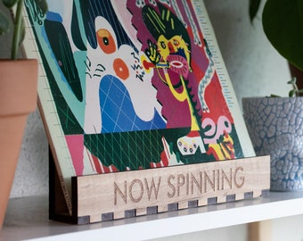 Now Spinning Tabletop Record Display - Oak