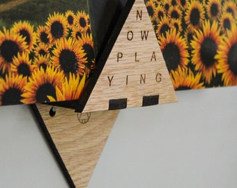 Now Playing Triangle Record Display - Oak - Wall Hanging Shelf