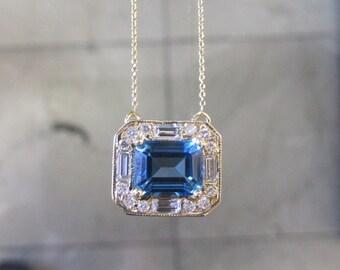 14K Gold Blue Topaz & Diamond Necklace 6J8021