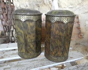 Set of Two Antique French Art Nouveau Le Paon Biscuit Tins, Kitchen Storage