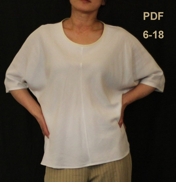 Dolman Sleeve Pullover Blouse Sewing Pattern Instant Pdf Etsy