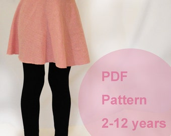 pdf sewing pattern, leggings for kids, knit sewing, simple sewing, skirt pattern
