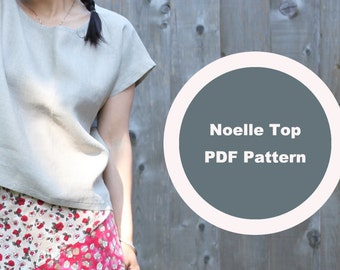 Easy Cute Top, Drop Shoulder Top, Sleeveless, Woven Tee, PDF Pattern, Loose Top