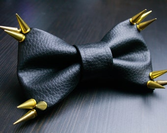 Gold Spiked Black Leather Bow Tie