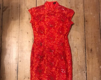 c27b2a64b3 80s 90s bright red chinese style sequin pin up pencil dress UK 10 12 US 6 8  medium