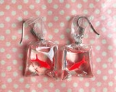 Kitsch fairground fish earrings hook or clip on